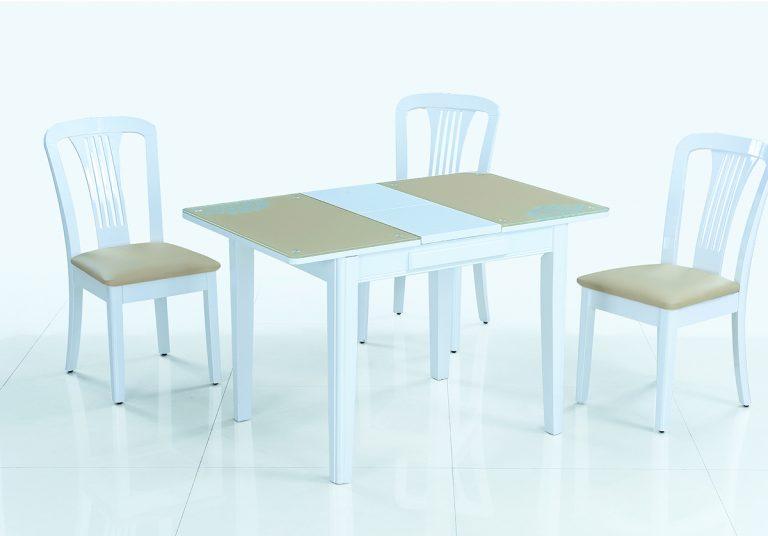 Кухонный раскладной стол обеденный LOTUS (бежевый)