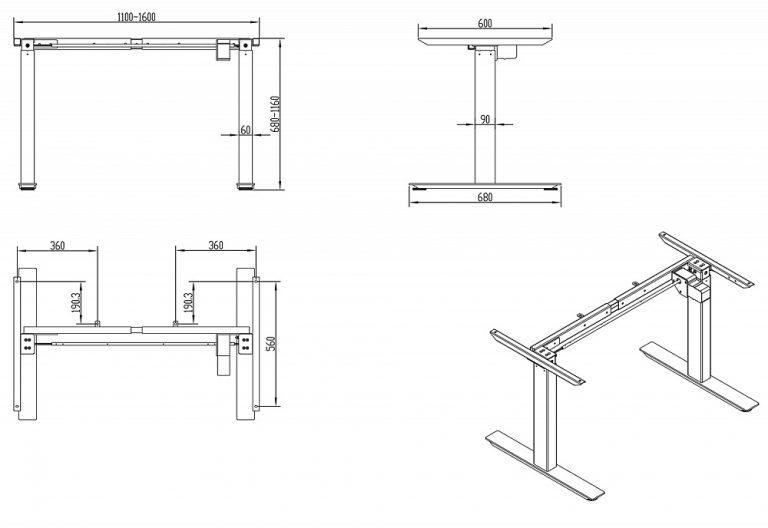 Стол регулируемый по высоте Оптима запоминание 4х положений высоты до 80 кг