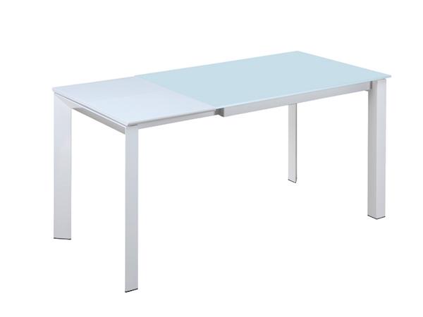 Belyj stol dlja kuhni iz stekla ICEBERG (1,2) (razdvizhnoj)