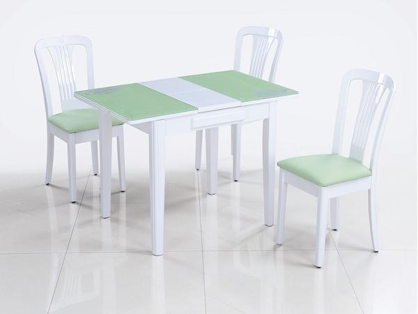 Раскладной стол со стеклянной столешницей LOTUS (салатовый)